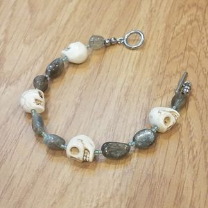 Laboradorite Skull Stainless Steel Toggle Bracelet